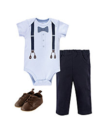 Little Treasure Baby Boys Dot Bow Tie Bodysuit, Pant and Shoe Set, Pack of 3