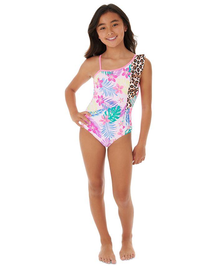 Glitter Beach Big Girls 1 Pc Shoulder Ruffle Swimsuit Reviews Swimwear Kids Macy S