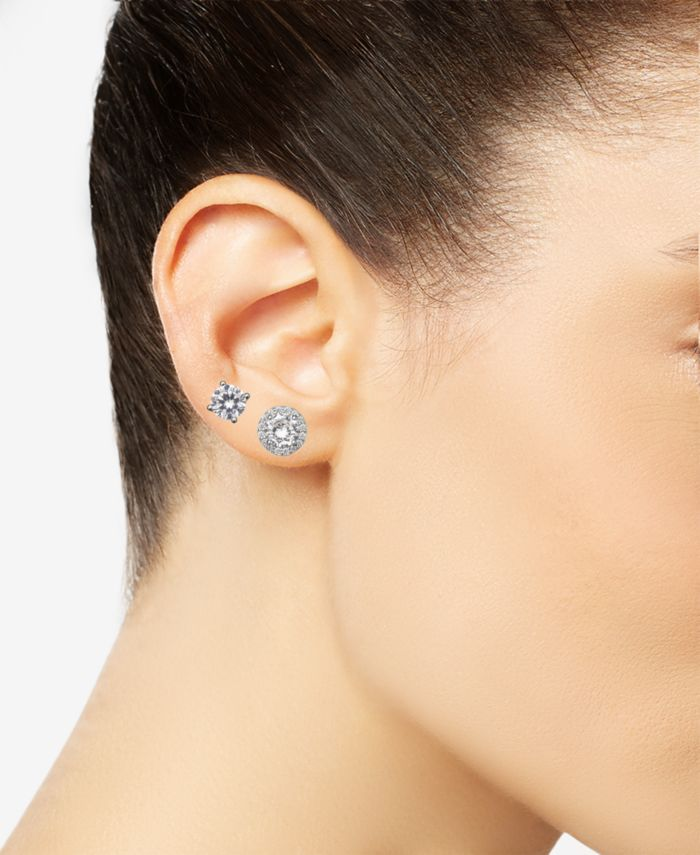 Giani Bernini 2-Pc. Set Cubic Zirconia Solitaire & Halo Stud Earrings in Sterling Silver, Created for Macy's & Reviews - Jewelry & Watches - Macy's