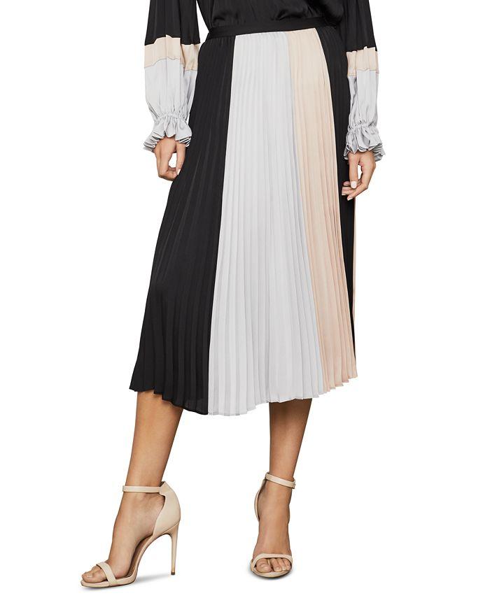 BCBGMAXAZRIA - Colorblocked Pleated Midi Skirt