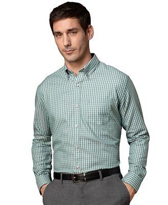 Van heusen shirt long sleeve premium no iron small plaid for Van heusen plaid shirts