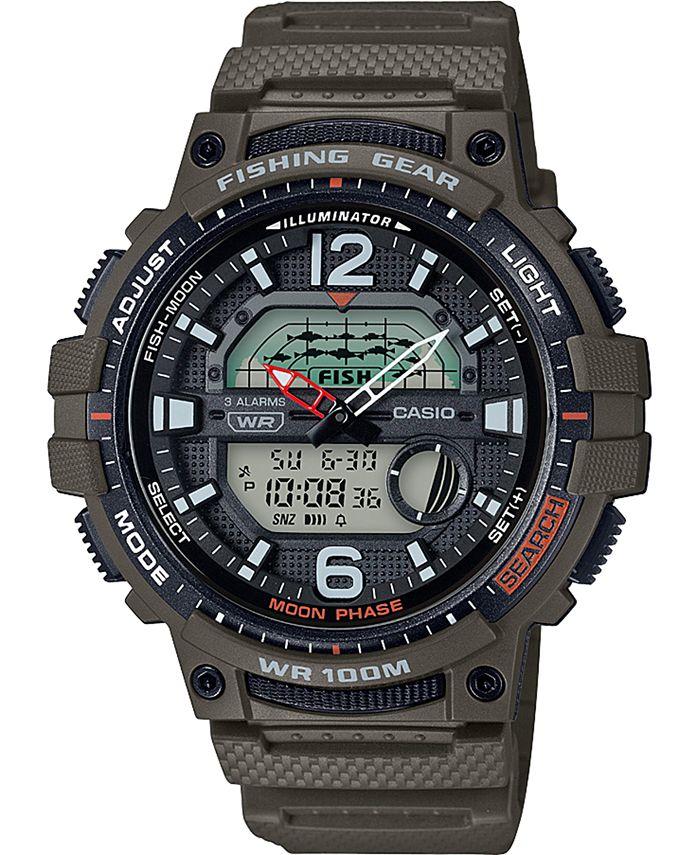 Casio - Men's Digital Fishing Gear Green Resin Strap Watch 48mm