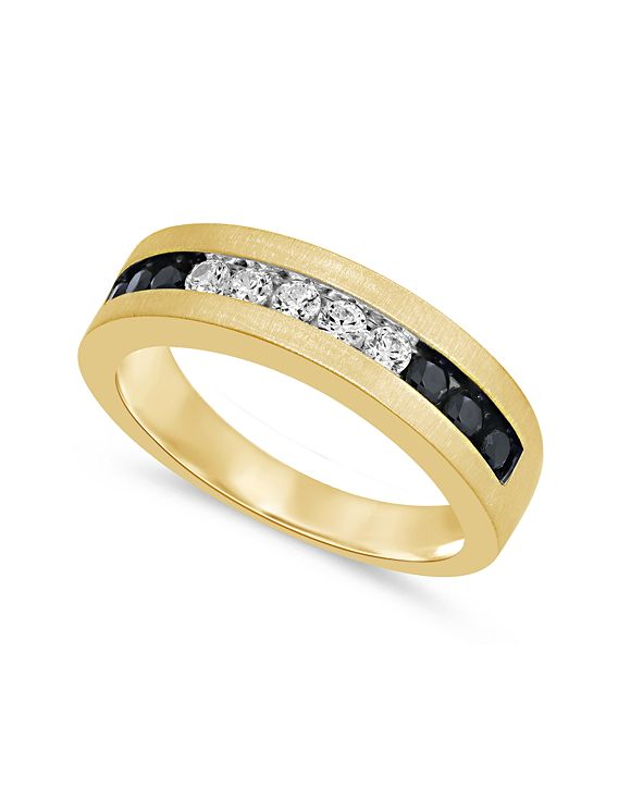 Macy's Men's Black & White Diamond (3/4 ct. t.w.) Ring in 10K Yellow Gold