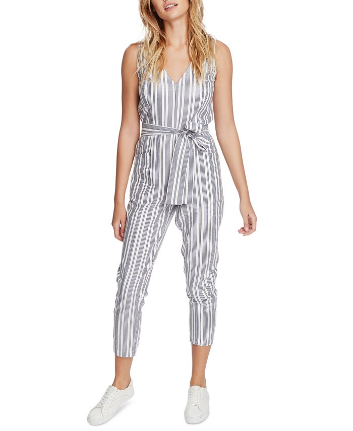 1.STATE - Cotton Striped Belted Jumpsuit