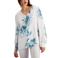 Alfani Floral-Print Pintucked Top