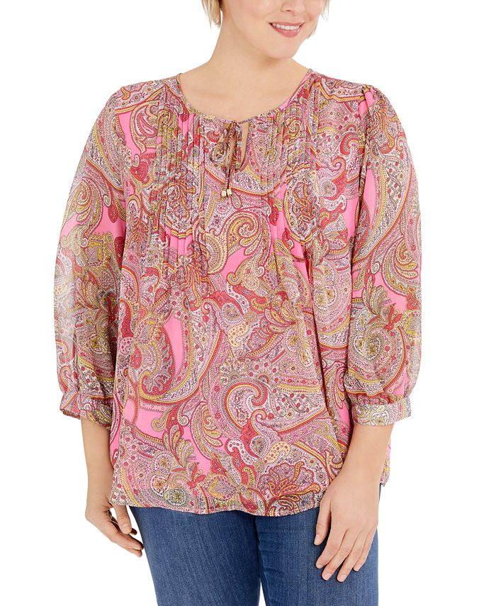 Tommy Hilfiger - Plus Size Paisley-Print Pintuck Top