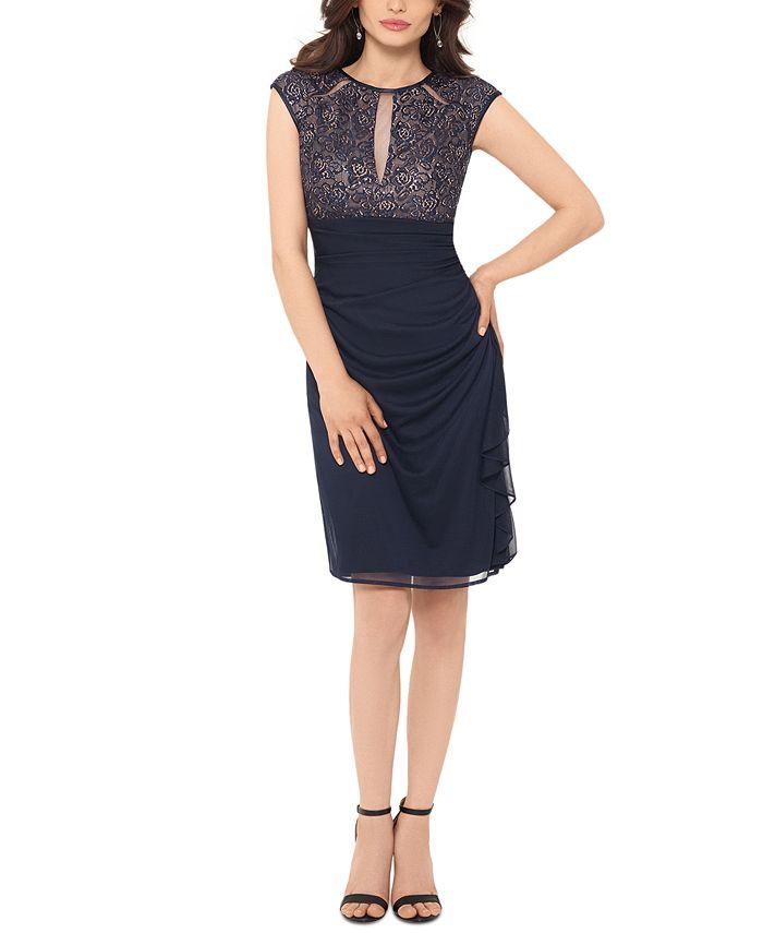 Betsy & Adam - Ruched Lace Sheath Dress