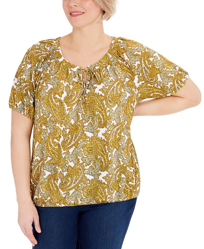 Michael Kors - Plus Size Paisley Keyhole-Neck Peasant Top