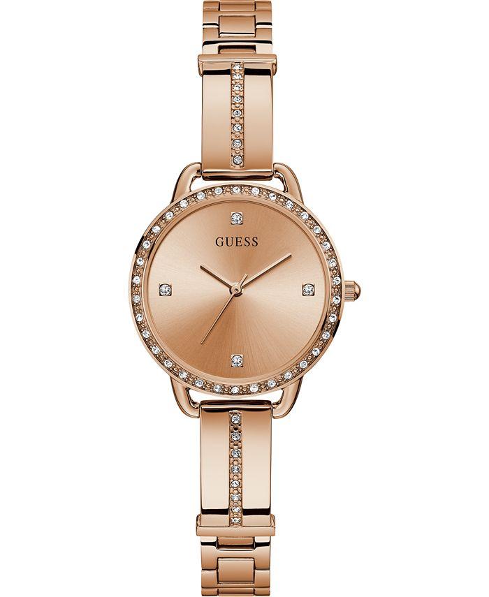 GUESS - Women's Rose Gold-Tone Stainless Steel Semi-Bangle Bracelet Watch 30mm