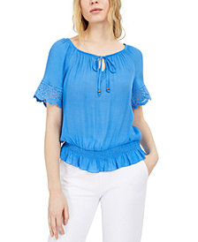 BCX Juniors' Tie-Front Peasant Top