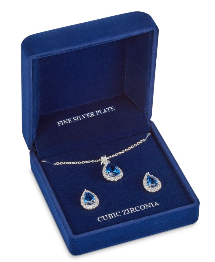 """Macy's Fine Silver Plate Cubic Zirconia Teardrop Necklace and Stud Earring Set, 18"""" + 3"""" extender  & Reviews - Fashion Jewelry - Jewelry & Watches - Macy's"""