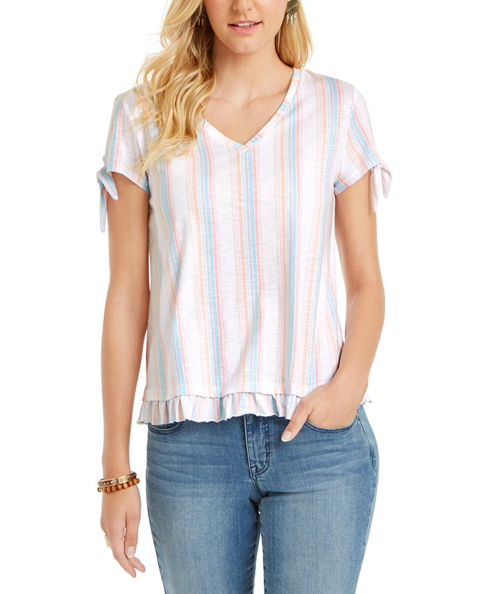 Style & Co - Striped Ruffled-Hem Tie-Sleeve Top