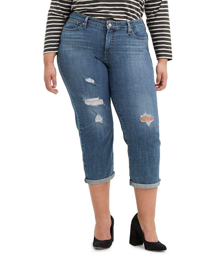 Levi's - Trendy Plus Size Tapered Destructed Boyfriend Jeans