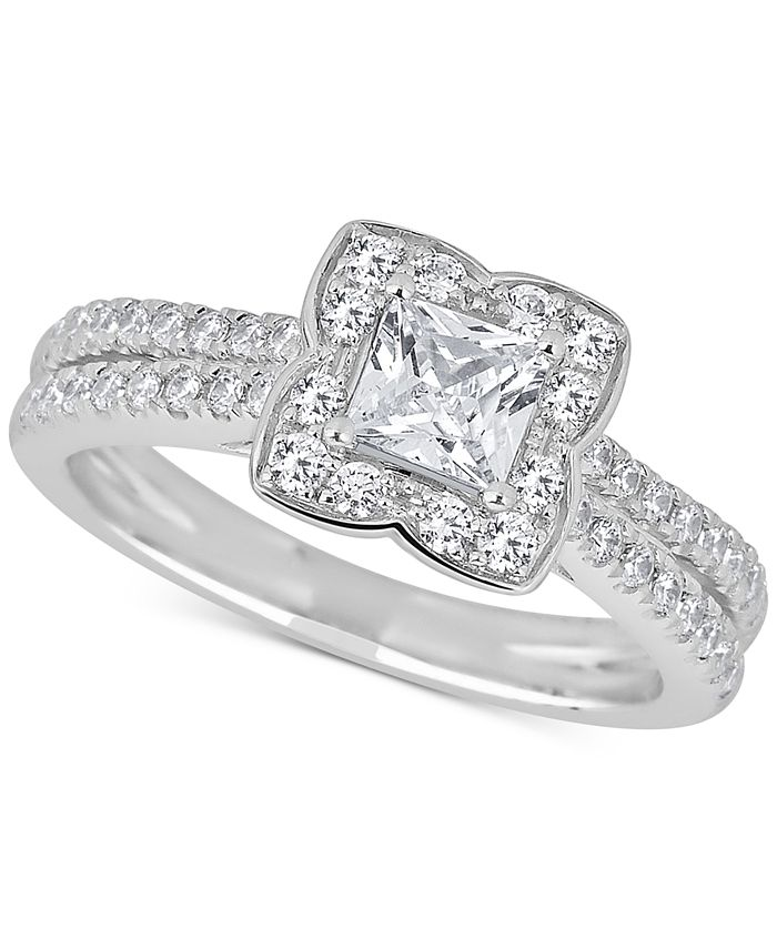 Macy's - Diamond Princess Scallop Halo Engagement Ring (1 ct. t.w.) in 14k White Gold