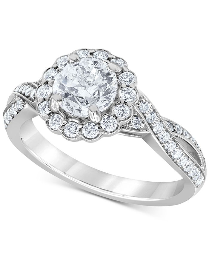 Macy's - Diamond Halo Twist Engagement Ring (1-3/4 ct. t.w.) in 14k White Gold