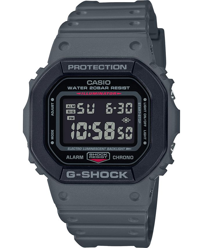 G-Shock - Men's Digital Gray Resin Strap Watch 43.8mm