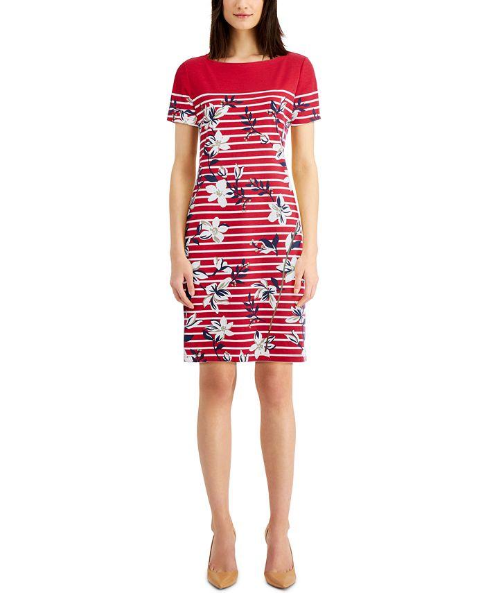 Karen Scott - Striped Floral Dress