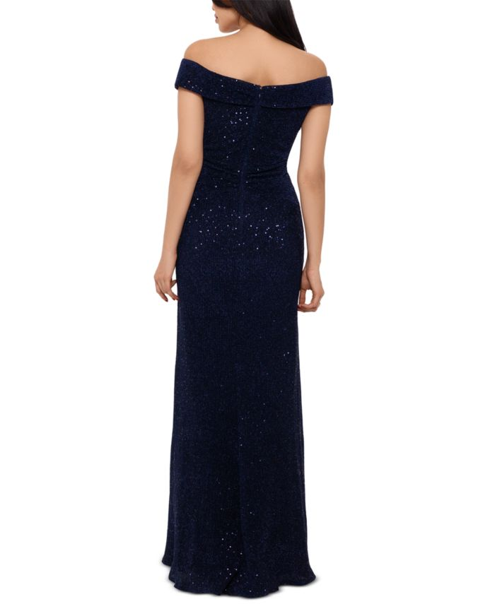 XSCAPE Off-The-Shoulder Sequinned Gown   & Reviews - Dresses - Women - Macy's
