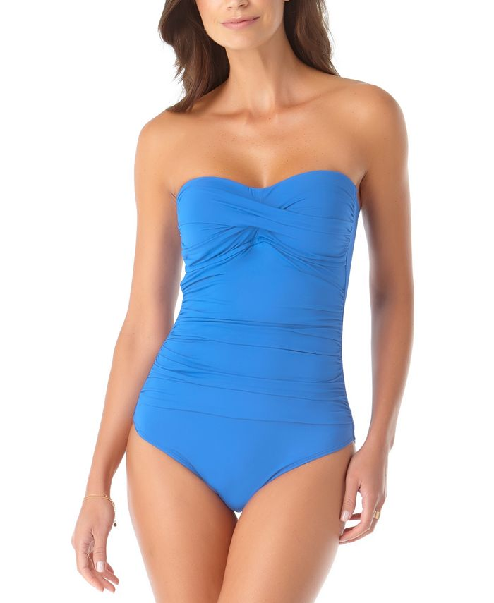 Anne Cole - Twist-Front Ruched One-Piece Swimsuit