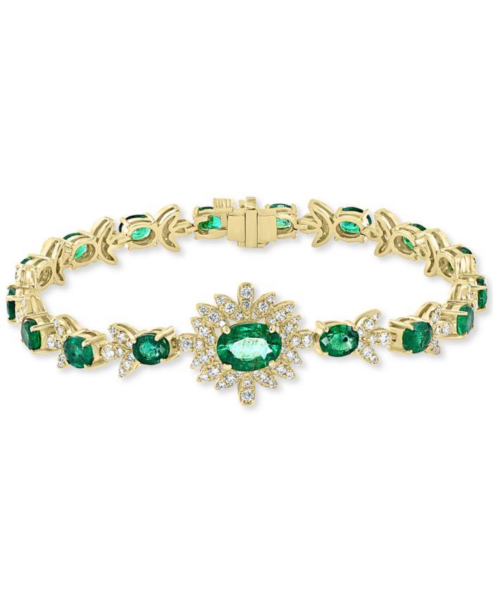 EFFY Collection EFFY® Emerald (6-3/8 ct. t.w.) & Diamond (1-1/5 ct. t.w.) Link Bracelet in 14k Gold & Reviews - Bracelets - Jewelry & Watches - Macy's
