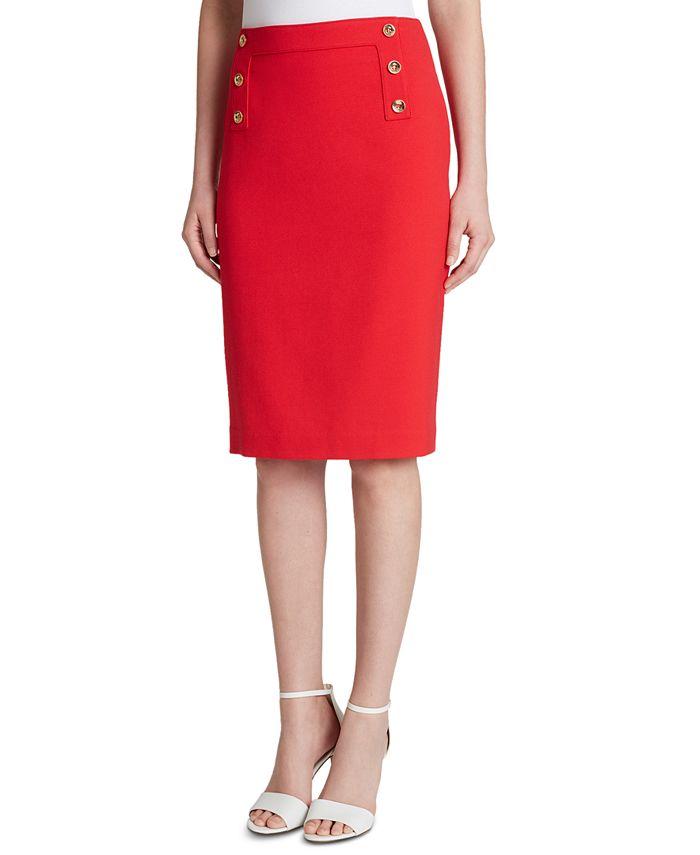 Tahari ASL - Button-Trim Pencil Skirt