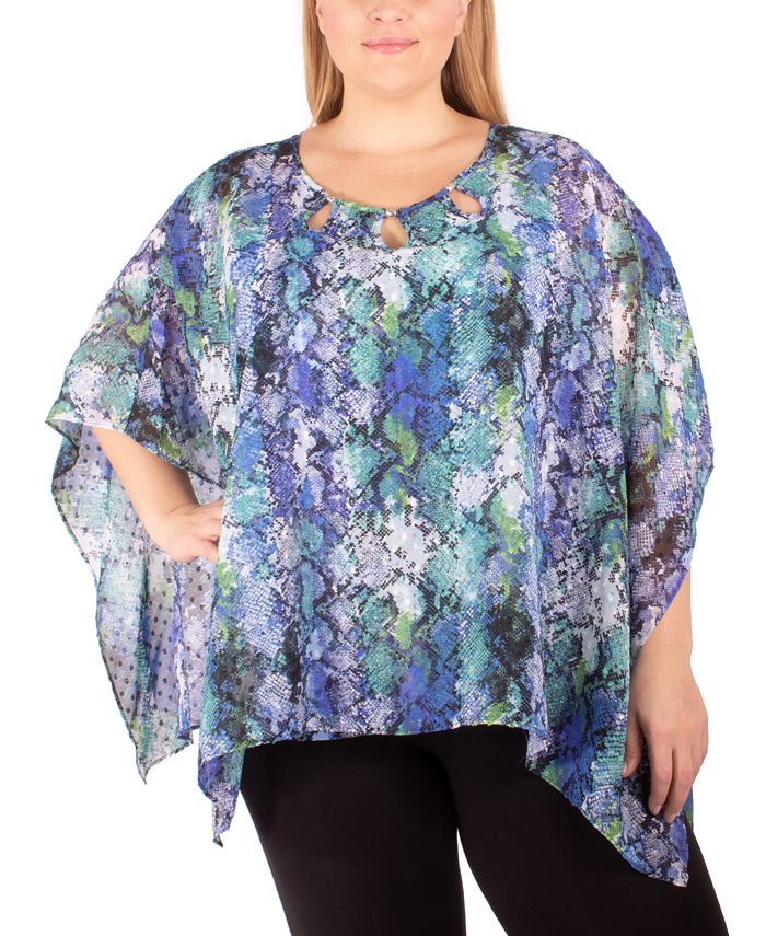 NY Collection - Plus Size Printed Poncho Top