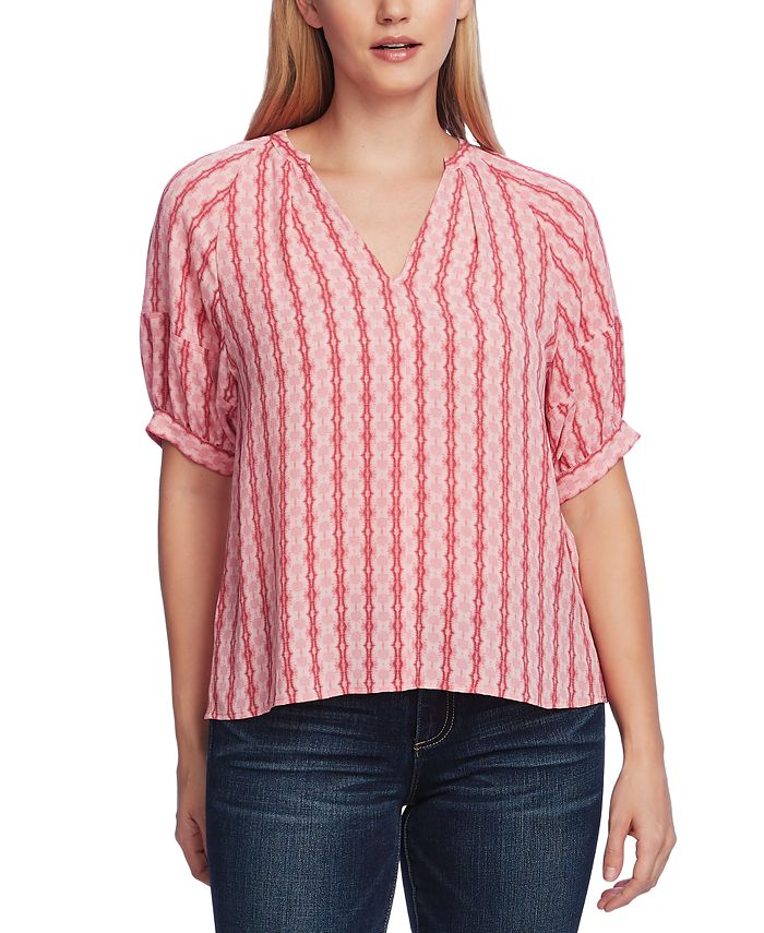 Vince Camuto - Starburst Stripe Bubble-Sleeve Top