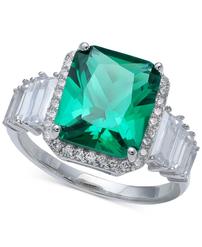 Macy's - Cubic Zirconia Emerald Shape Baguette & Pave Ring (7-7/8 ct. t.w.) in Sterling Silver