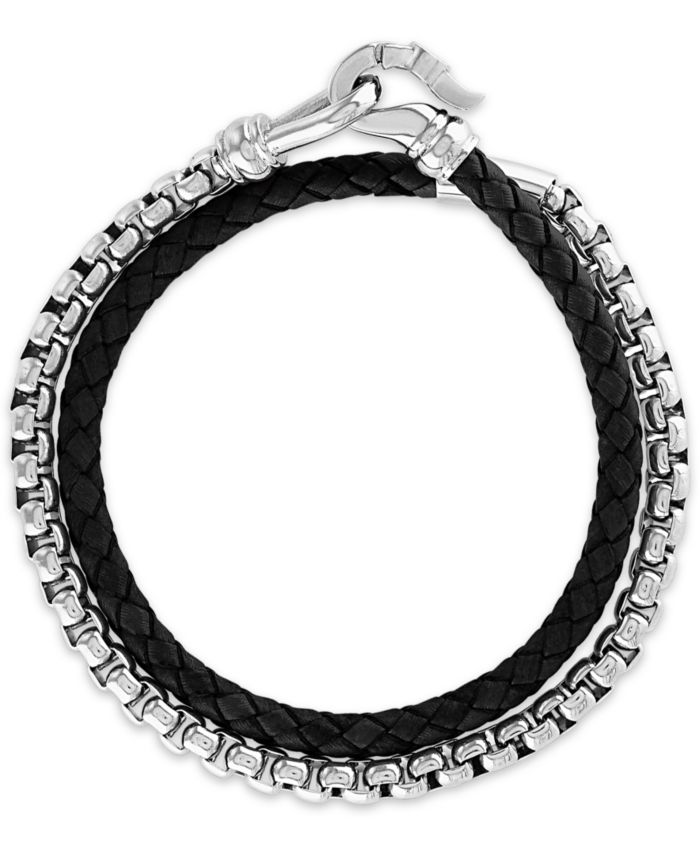 Esquire Men's Jewelry Black Leather Double Wrap Bracelet in Stainless Steel (also in Brown Leather), Created for Macy's & Reviews - Bracelets - Jewelry & Watches - Macy's