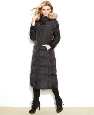 Michael Michael Kors Hooded Faux Fur Trim Maxi Puffer Coat