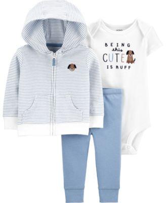 Baby Boys 3-Pc. Puppy Hoodie, Bodysuit & Pants Set