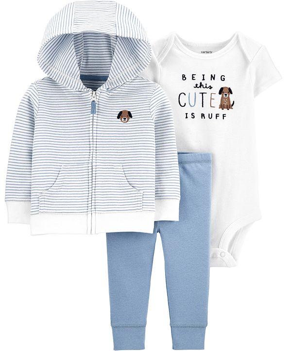 Carter's Baby Boys 3-Pc. Puppy Hoodie, Bodysuit & Pants Set