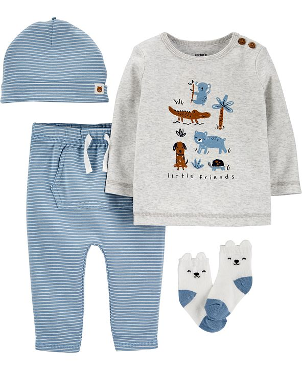 Carter's Baby Boys 4-Pc. Little Animals Cotton Take-Me-Home Set