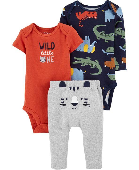 Carter's Baby Boys 3-Pc. Wild One Cotton Bodysuits & Pants Set
