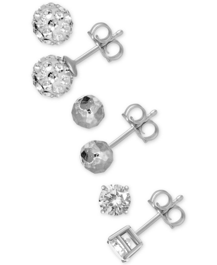 Essentials 3-Pc. Set Cubic Zirconia, Hammered-Look and Crystal Ball Stud Earrings in Fine Silver-Plate & Reviews - Earrings - Jewelry & Watches - Macy's