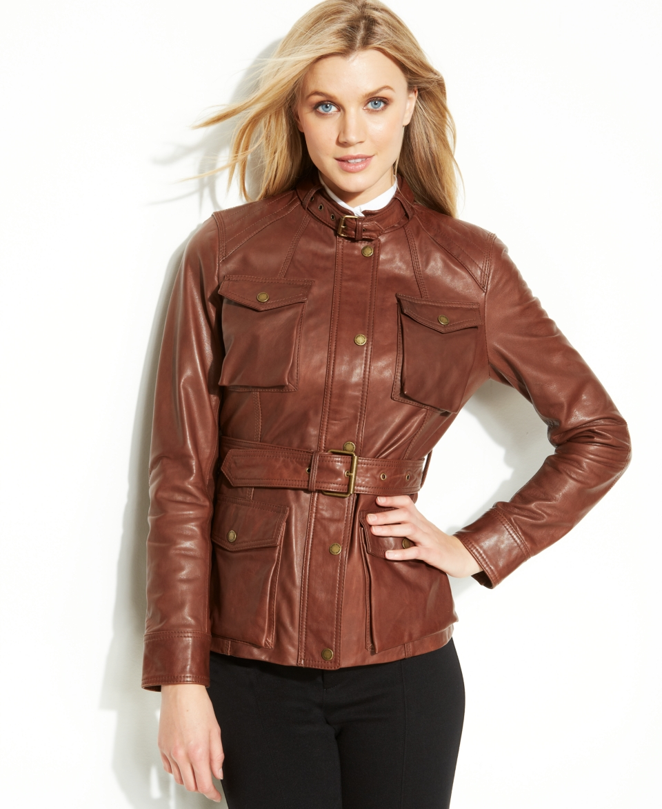Anne Klein Buckle Collar Belted Leather Jacket   Jackets & Blazers   Women