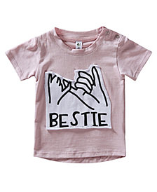 Earth Baby Outfitters Baby Boys and Girls Organic Cotton Bestie Short Sleeve Patch T-Shirts