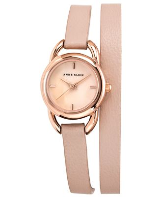 Anne klein watch women 39 s light pink leather double wrap strap 22mm ak 1432rglp watches for Anne klein leather strap