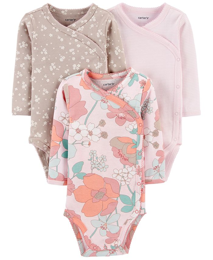 Carter's - Baby Girls 3-Pk. Printed Side-Snap Cotton Bodysuits