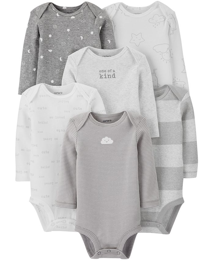 Carter's - Baby Boys or Girls 6-Pack Printed Long-Sleeve Cotton Bodysuits