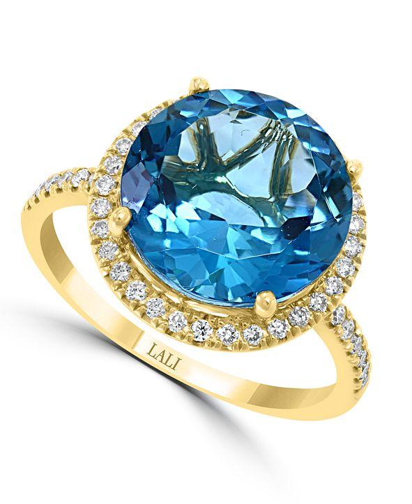 Macy's LALI Jewels London Blue Topaz (6-3/4 ct. t.w.) & Diamond (1/3 ct. t.w.) Statement Ring in 14k Gold