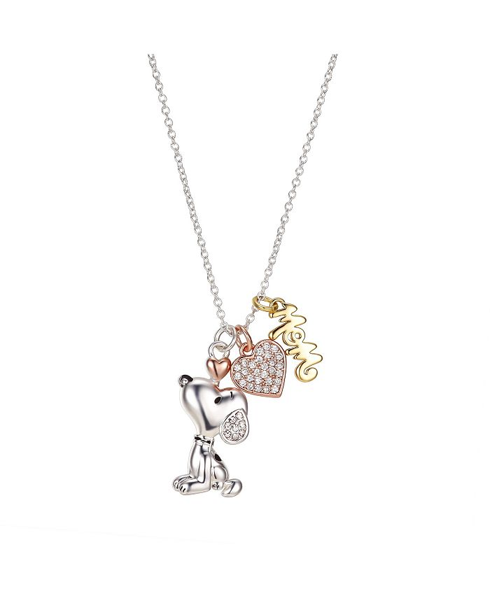 """Peanuts - Gold Flash Plated """"Mom"""" Snoopy and Cubic Zirconia Heart Necklace, 16""""+2"""" Extender"""