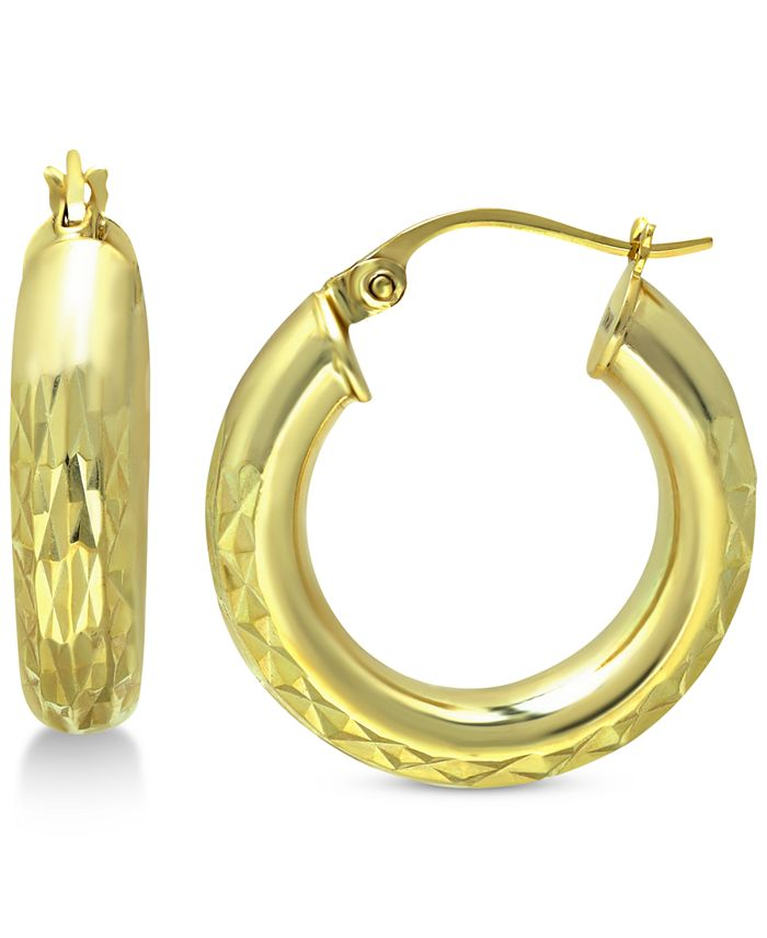 Giani Bernini - Small Textured Hoop Earrings in 18k Gold-Plated Sterling Silver, 0.79""