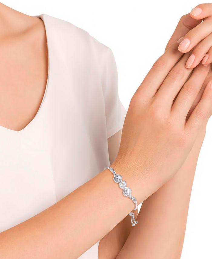 Macy's Diamond Accent Sand Dollar Bolo Adjustable Bracelet in Silver-Plated Brass & Reviews - Bracelets - Jewelry & Watches - Macy's