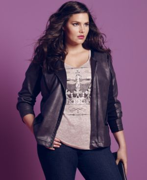 Style & co. Plus Size Jacket, Coated Motorcycle