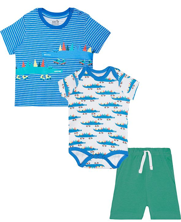 Art & Eden Baby Boys Mix-And-Match 3-Pc. Alligator Skater T-Shirt, Bodysuit & Shorts Set