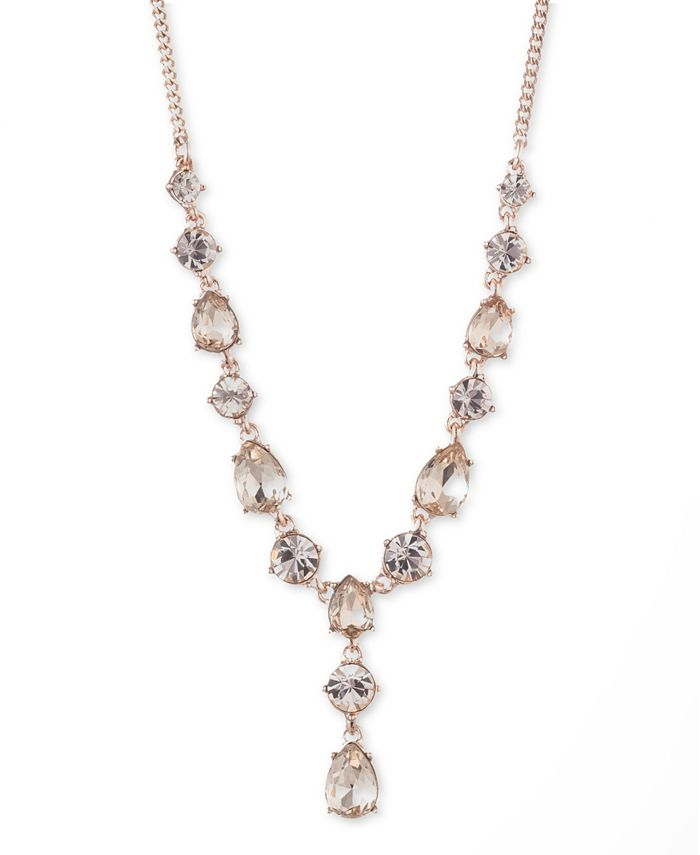 """Givenchy - Crystal Lariat Necklace, 16"""" + 3"""" extender"""