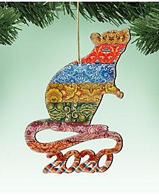 Designocracy 2020 Mouse Wooden Ornaments, Set of 2