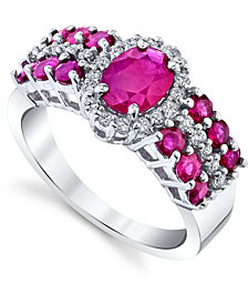 Ruby (2-1/5 ct. t.w.) & Diamond (1/4 ct. t.w) Statement Ring in 10k White Gold