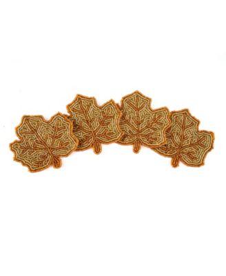 Beaded Leaf Coasters, Set of 4